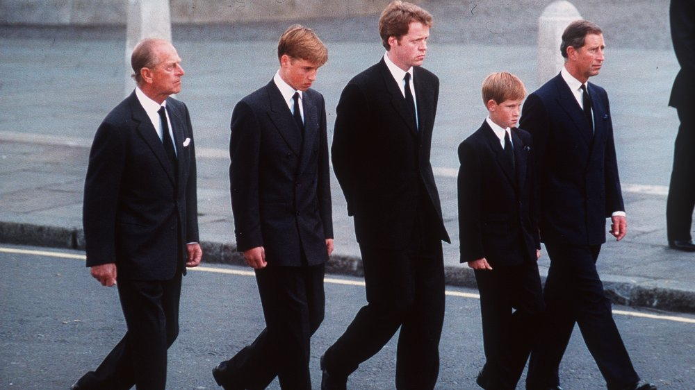 Prince Phillip, Prince William, Charles Spencer, Prince Harry, Prince Charles
