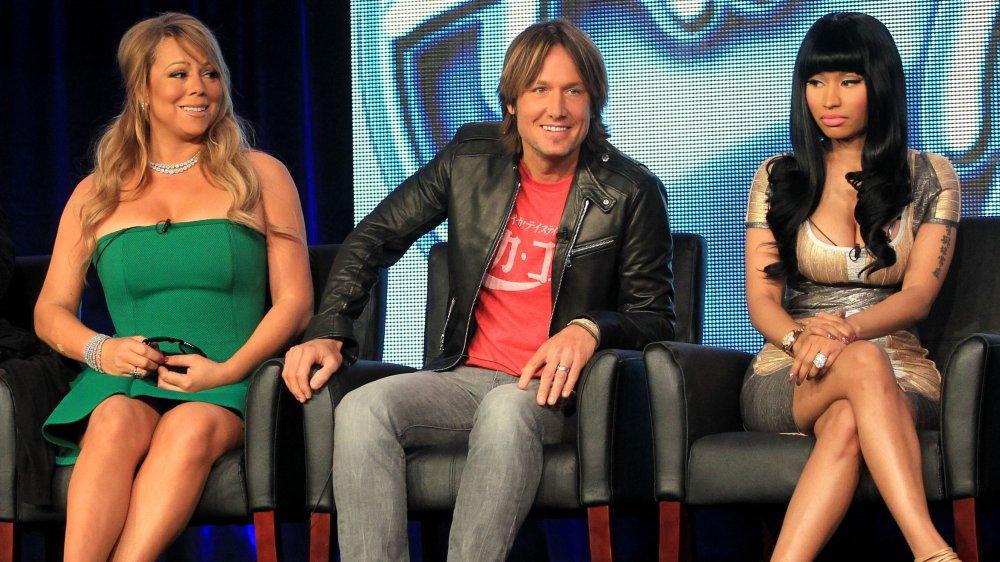 Mariah Carey, Keith Urban et Nicki Minaj lors d'un panel pour American Idol
