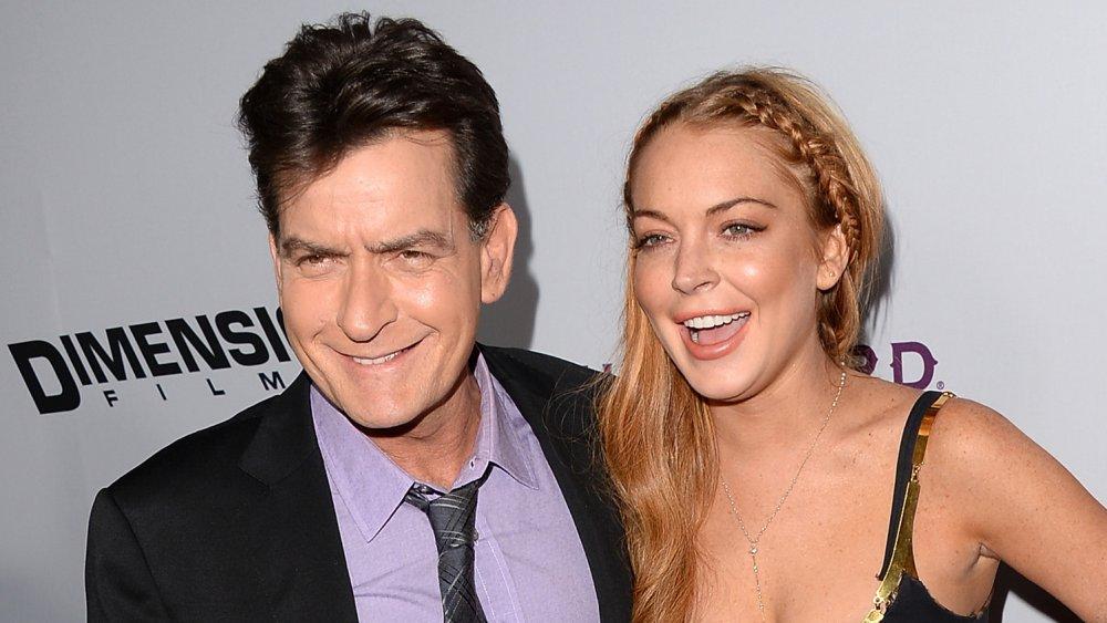 Charlie Sheen et Lindsay Lohan lors de la première de Scary Movie 5