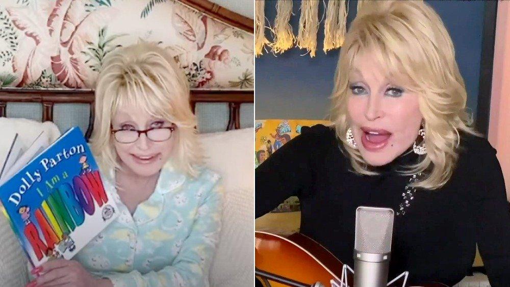 Image divisée de Dolly Parton lisant des histoires au coucher et chantant en 2020 à 74 ans