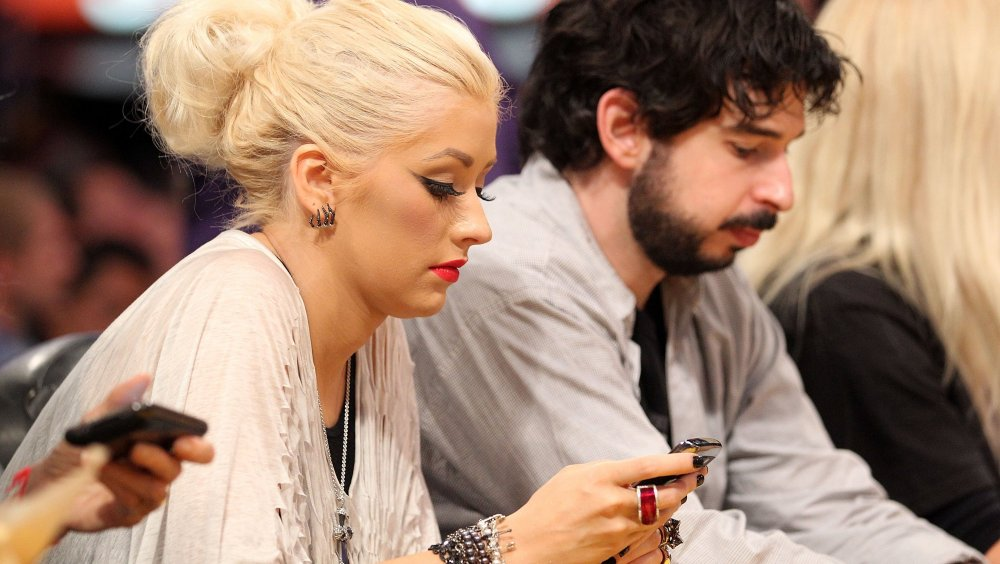 Christina Aguilera and Jordan Bratman at Game Seven of the NBA Finals in 2010