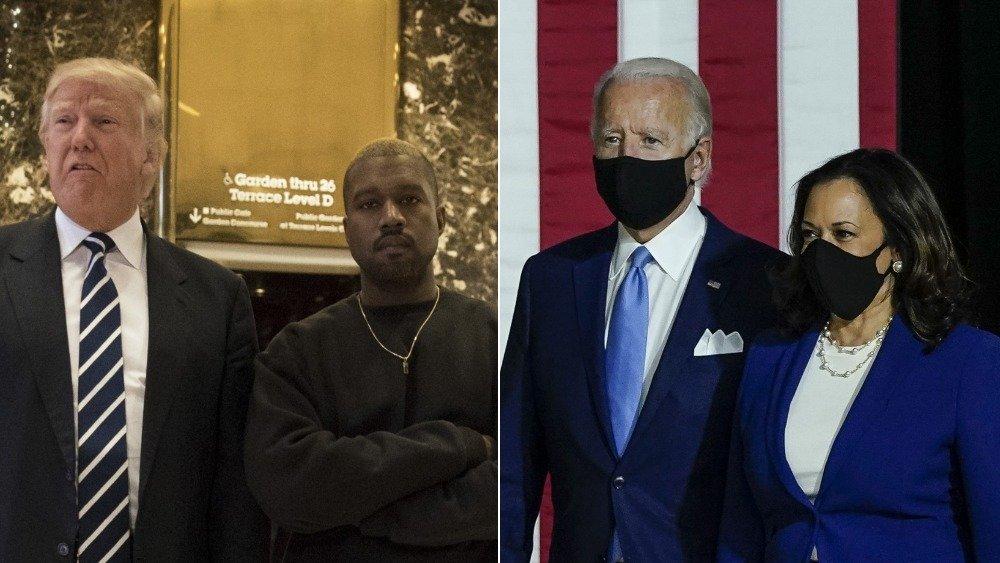 Donald Trump and Kanye West, Kamala Harris and joe Biden