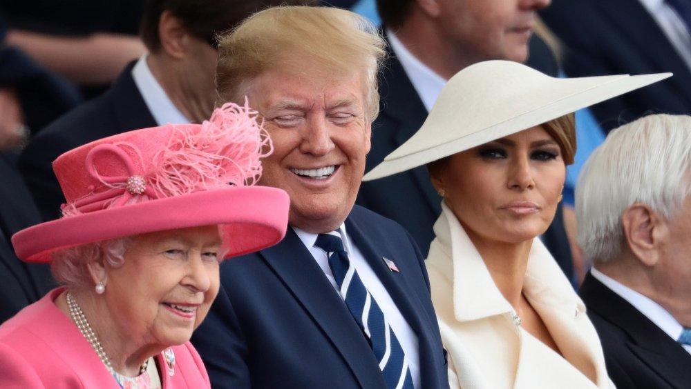 La reine avec Donald et Melania Trump