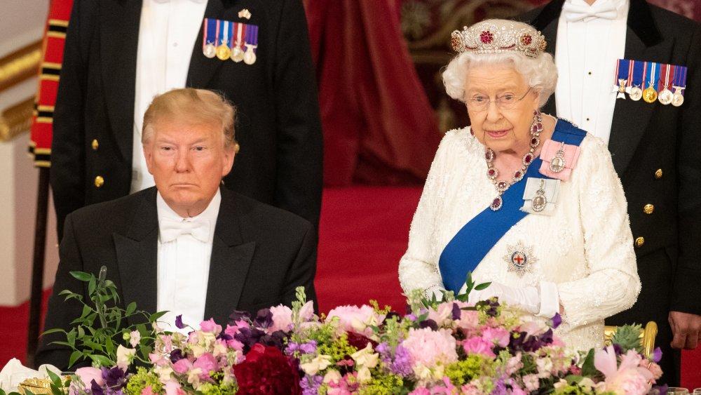 Donald Trump et la reine au banquet d'État