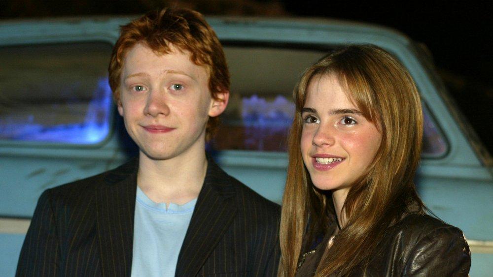 Rupert Grint et Emma Watson lors de la première de Harry Potter et la chambre des secrets