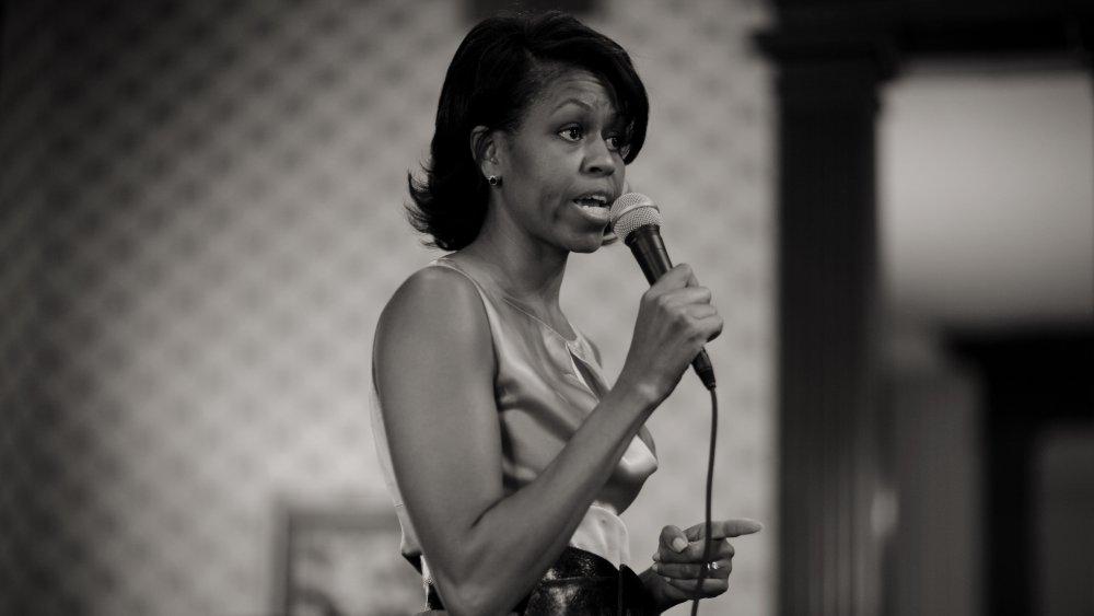 Michelle Obama s'exprimant lors d'un événement de campagne en 2007