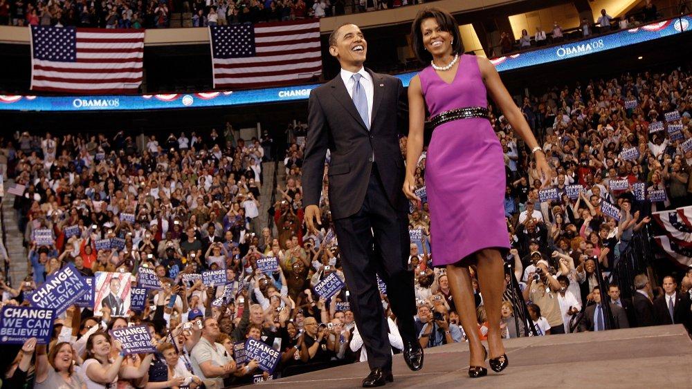 Barack Obama et Michelle Obama lors d'un événement de campagne en juin 2008