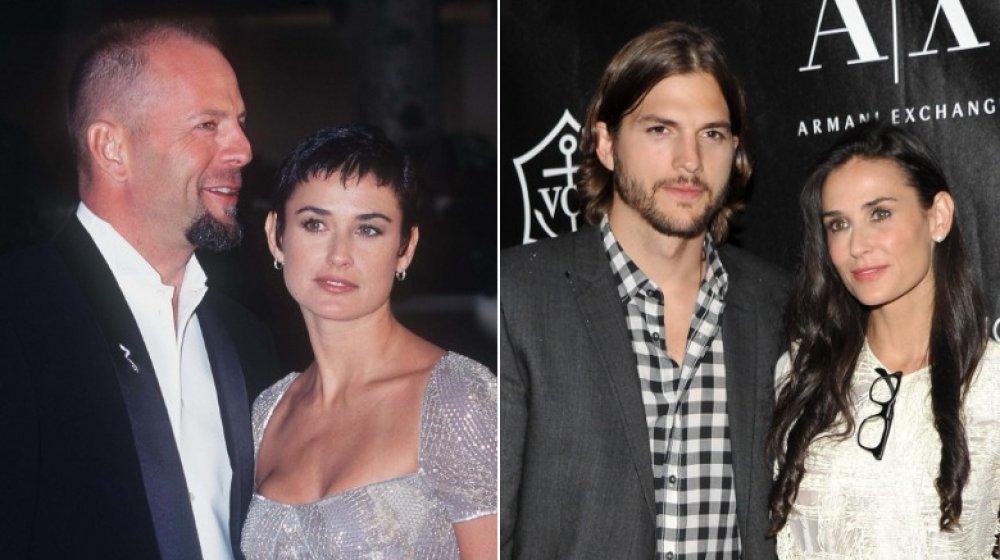 Bruce Willis Demi Moore aux Golden Globe Awards en 1997; Ashton Kutcher et Demi Moore aux Urban Zen Stephan Weiss Apple Awards en 2011