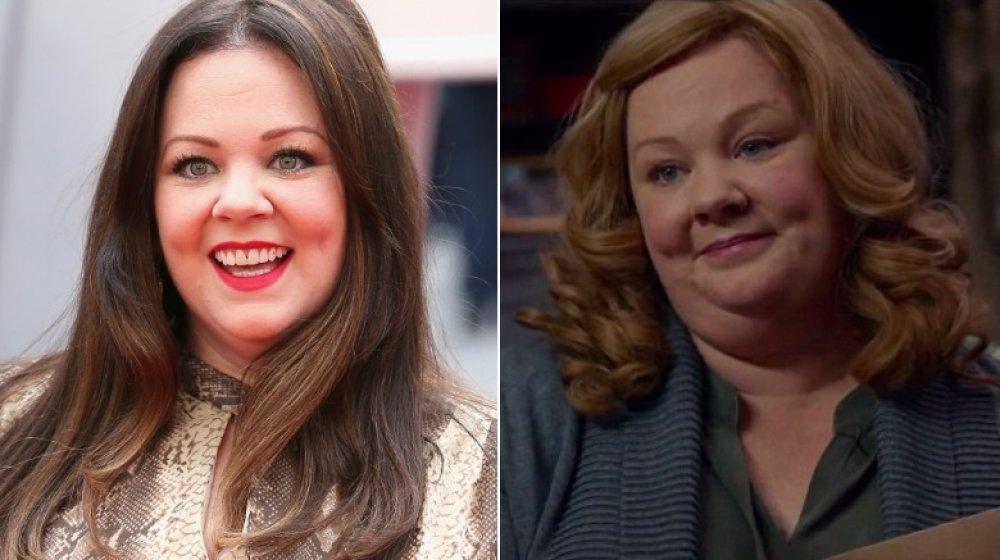 Image divisée de Melissa McCarthy souriant grande à la première d'espion, et comme Susan Cooper dans Spy
