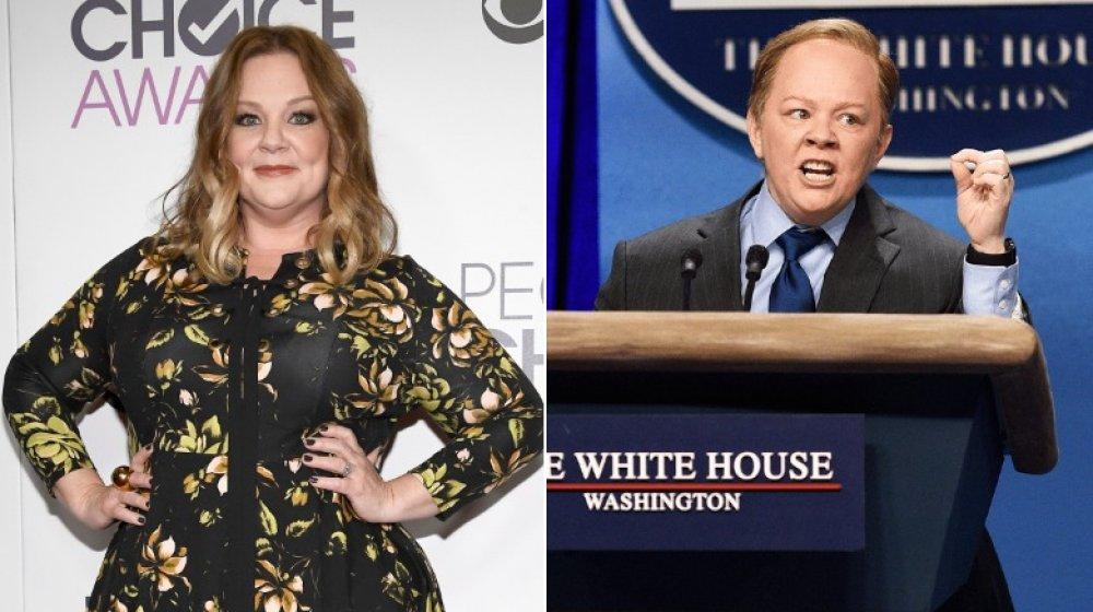 Image partagée de Melissa McCarthy sur le tapis rouge et se faisant passer pour Sean Spicer sur SNL