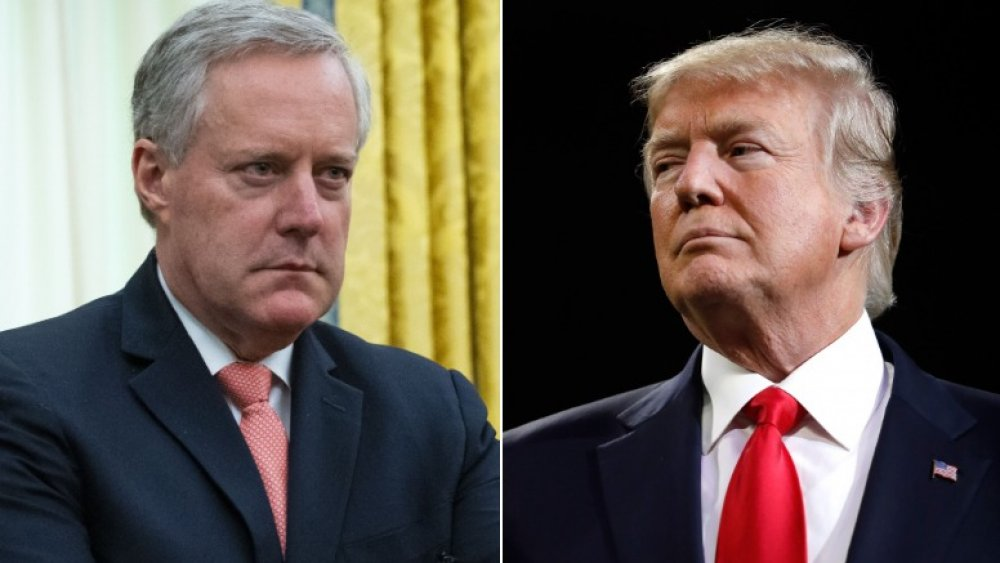 Mark Meadows (left) and Donald Trump (right) looking stern