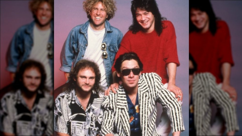Clockwise: Sammy Hagar, Eddie Van Halen, Alex Van Halen, and Michael Anthony pose for a Van Halen band portrait