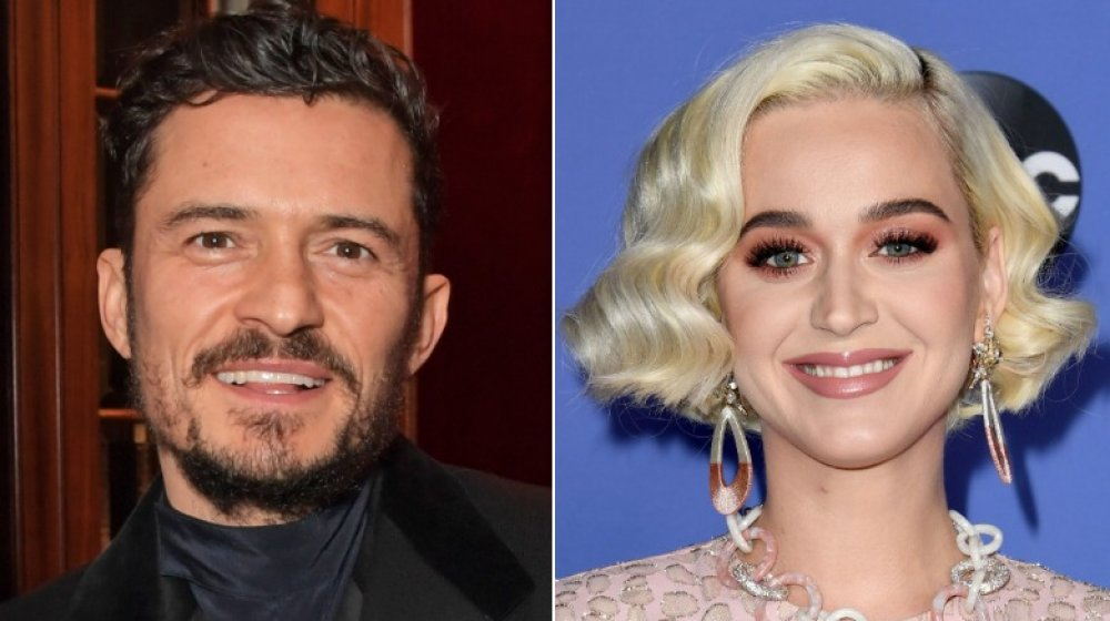 Orlando Bloom at a Flaunt Magazine and Dunhill party in 2019; Katy Perry at the American Idol premiere in 2020