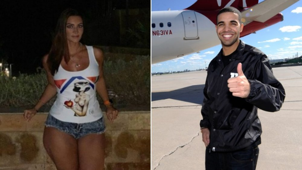 Sophie Brussaux in an IG shot (left), Drake giving a thumbs up (right)