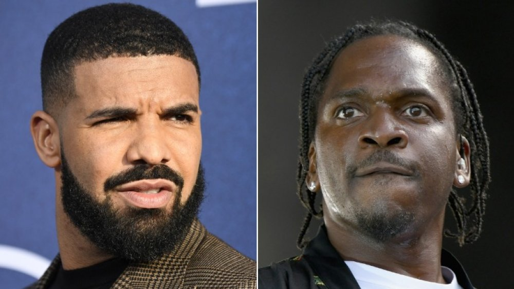 Drake looking angry (left), Pusha T looking intense (right)