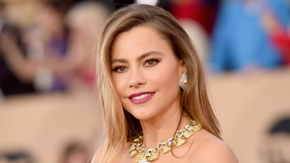 Sofia Vergara with a gold necklace in matching earrings