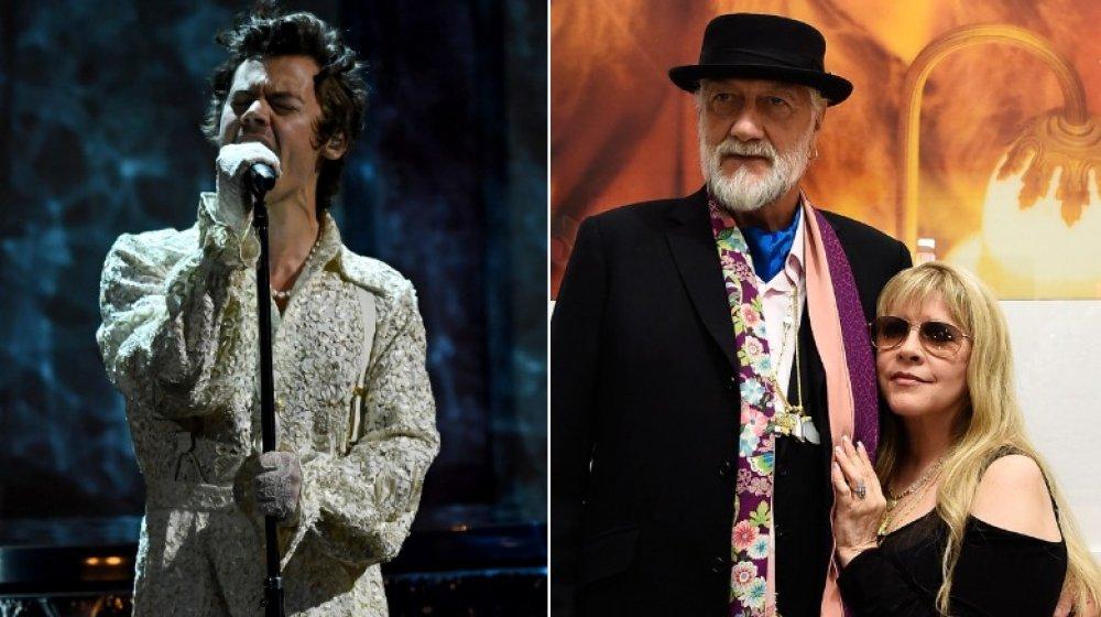 Image divisée de Harry Styles et Mick Fleetwood avec Stevie Nicks