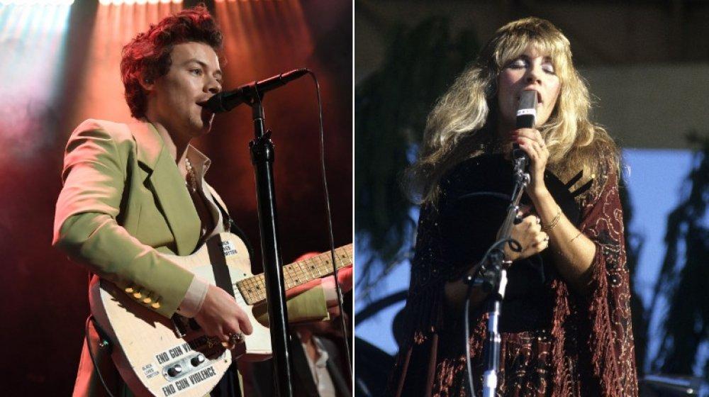 Image divisée de Harry Styles et Stevie Nicks en train de jouer