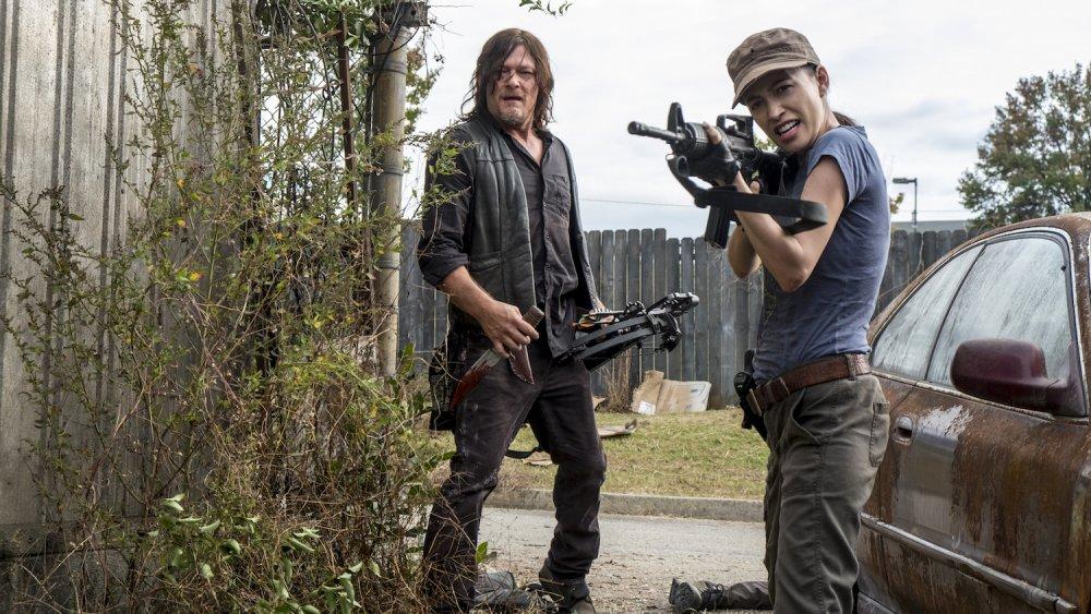 Norman Reedus et Christian Serratos sur The Walking Dead