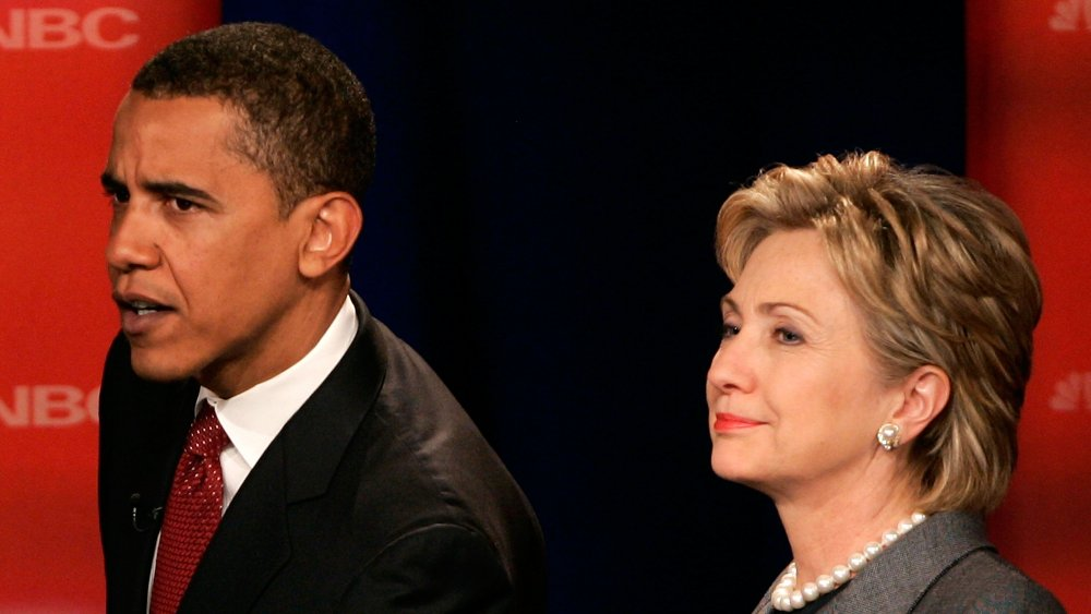 Barack Obama et Hillary Clinton s'adressant à la foule