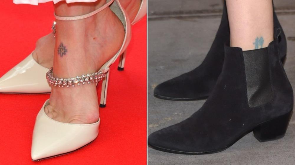 Tatouages de pied et de cheville de Sarah Paulson