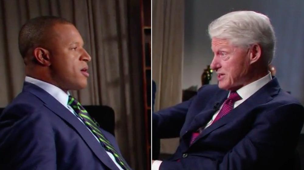 Craig Melvin et Bill Clinton;  image fractionnée