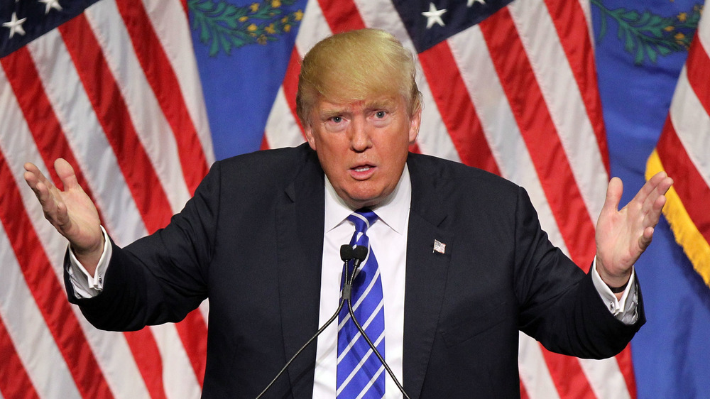 Donald Trump s'exprimant lors d'un rassemblement électoral