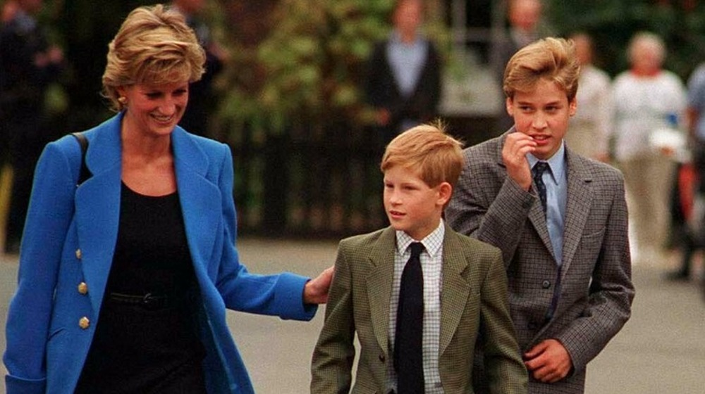 La princesse Diana, le prince Harry et le prince William marchent ensemble