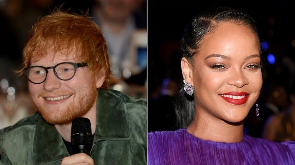 Image scindée d'Ed Sheeran et Rihanna
