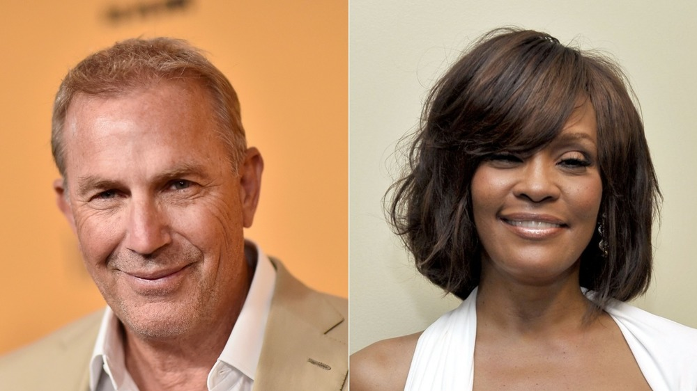 Kevin Costner et Whitney Houston souriant