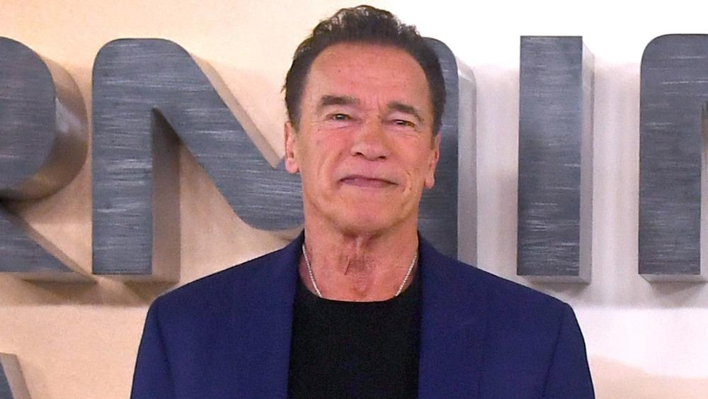 Arnold Schwarzenegger posant