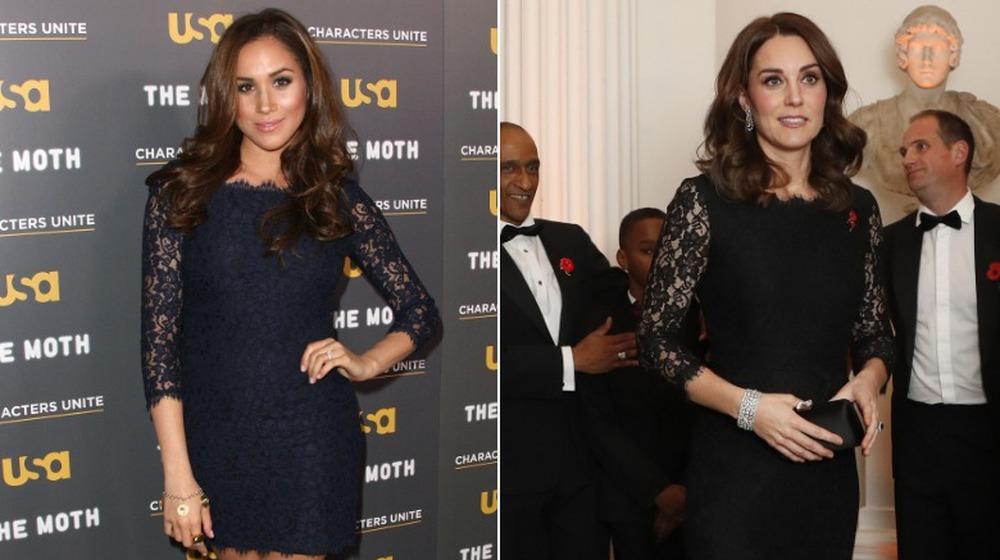 Meghan Markle (à gauche) et Kate Middleton en robes assorties