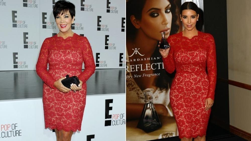 Kris Jenner (à gauche) et Kim Kardashian (dans la même robe