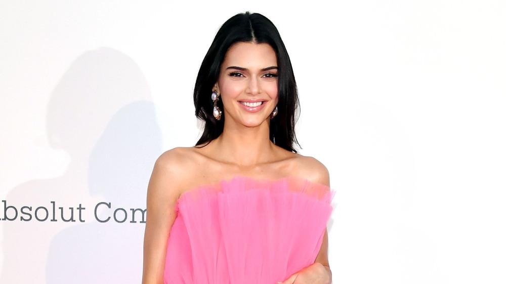 Kendall Jenner pose dans une robe rose