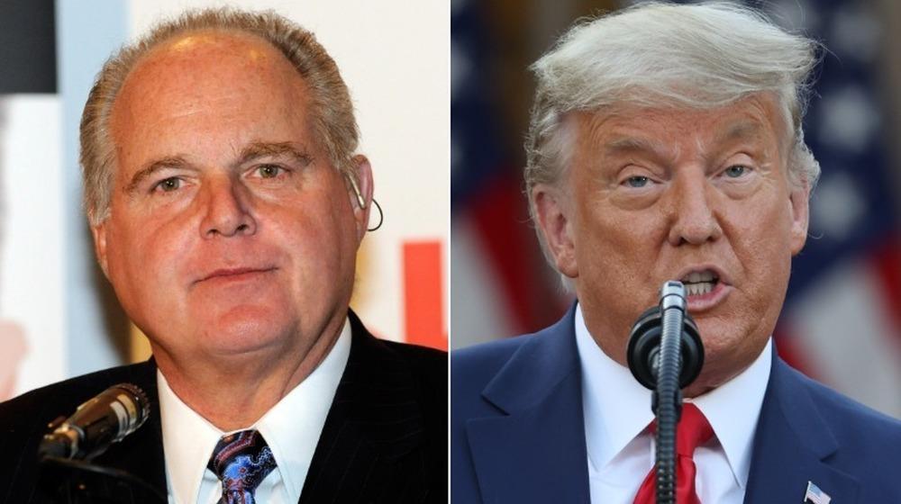 Rush Limbaugh s'exprimant et Donald Trump s'exprimant