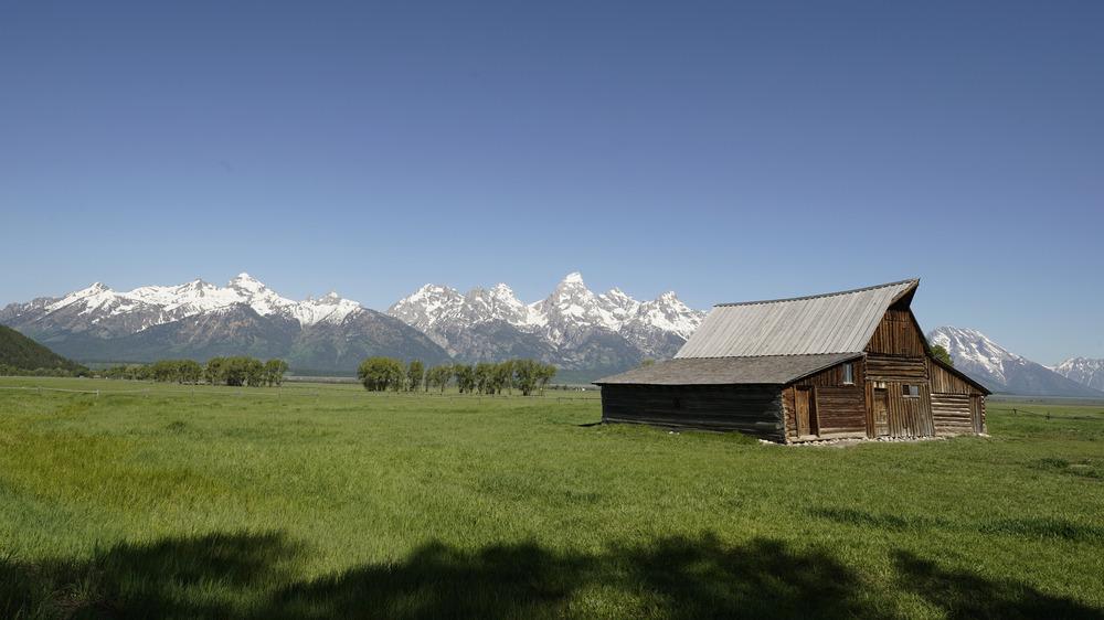 Grange Grand Teton sur terrain tentaculaire sur fond de montagne dans le Wyoming