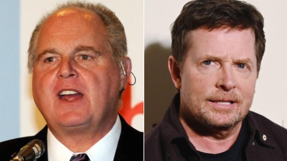 Rush Limbaugh parlant (à gauche), Michael J.Fox à la poupe (à droite)