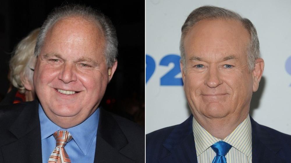 Rush Limbaugh souriant (à gauche), Bill O'Reilly souriant (à droite)