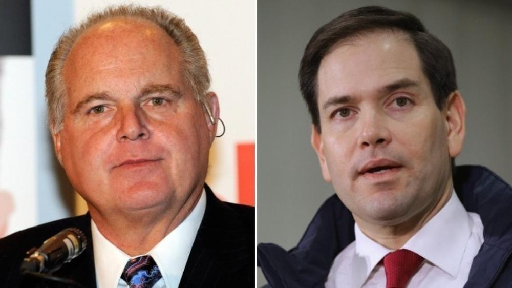 Rush Limbaugh souriant (à gauche), Marco Rubio parle (à droite)