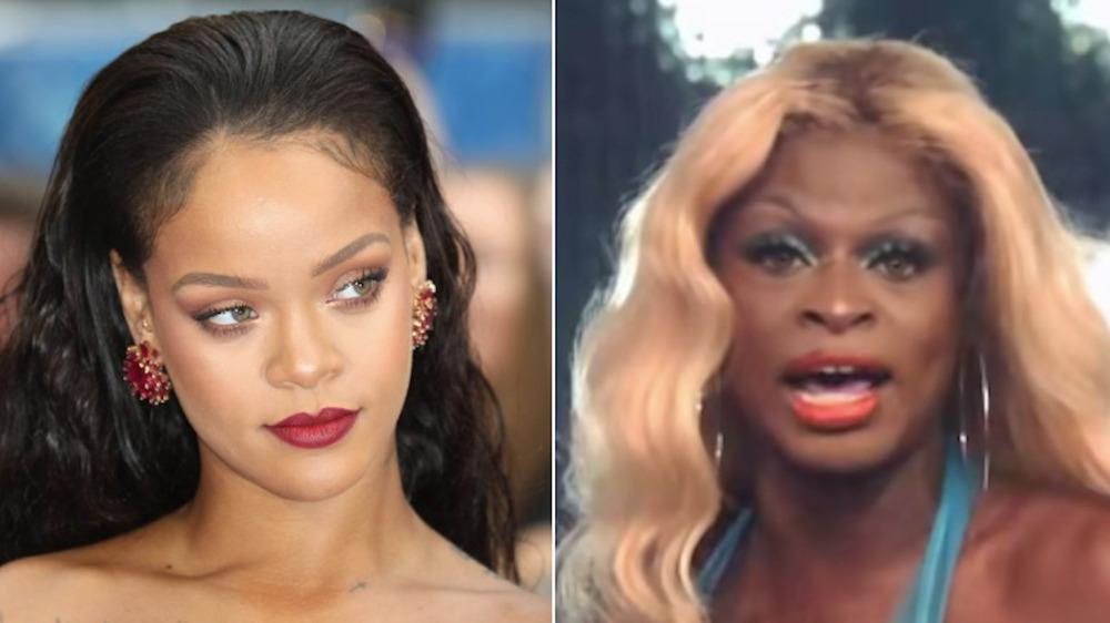 Rihanna posant et Symone de RuPaul's Drag Race chantant en image scindée