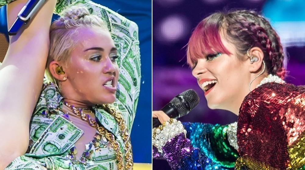 Miley Cyrus (à gauche) et Lily Allen (à droite) lors de la tournée Bangerz