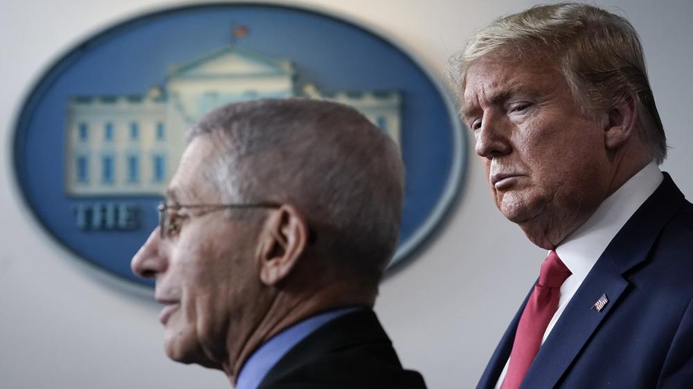 Doald Trump et Anthony Fauci lors d'une conférence de presse le 24 mars 2020