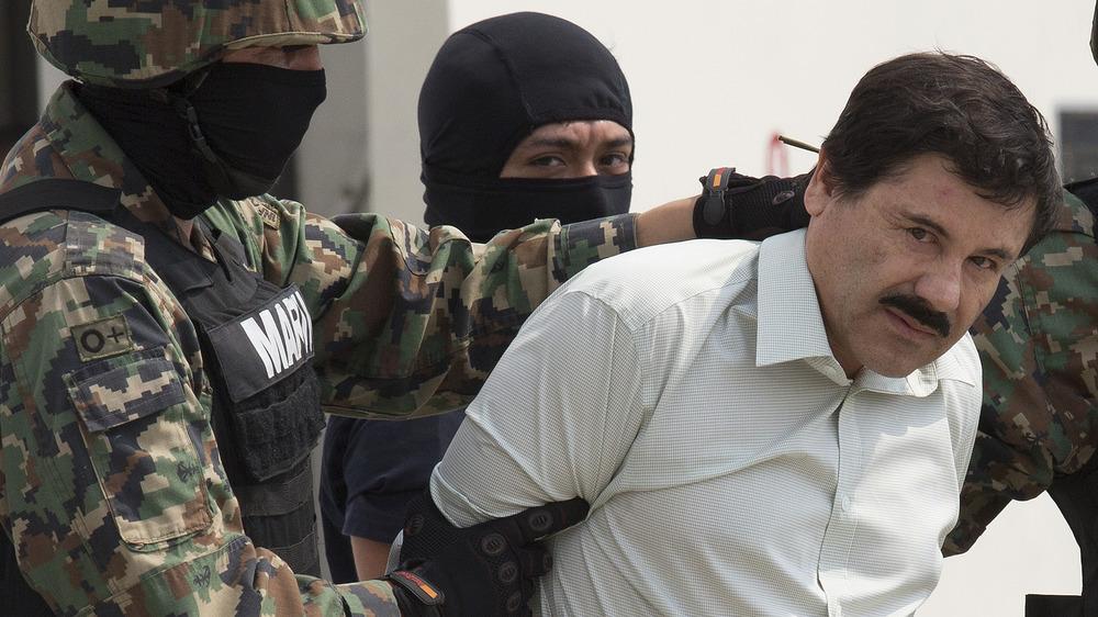 El Chapo traversé l'aéroport international du Mexique après son arrestation, février 2014