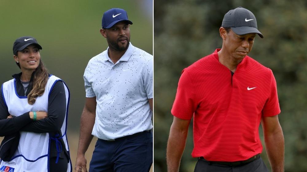 Cheyenne Woods et Aaron Hicks avec Tiger Woods