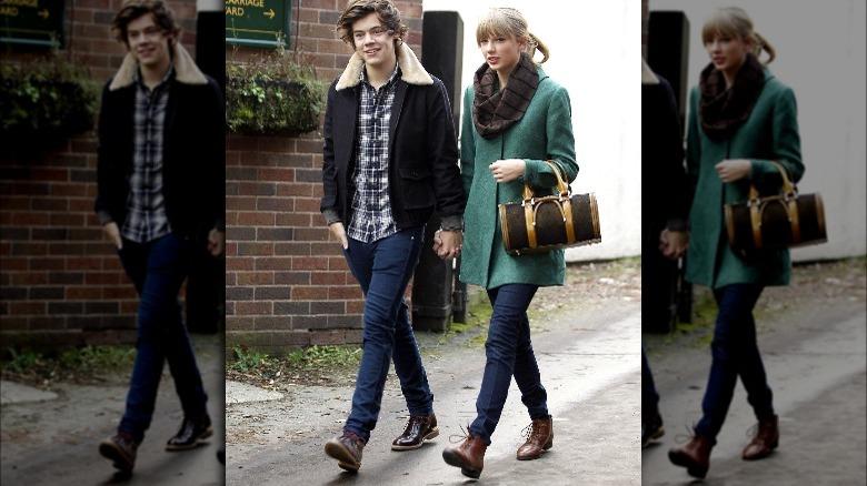 Harry Styles et Taylor Swift marchant, main dans la main